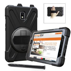 Rugged case Samsung Tab Active2 8.0 T390  T395 hand/shoulder strap, kick stand & screen protector